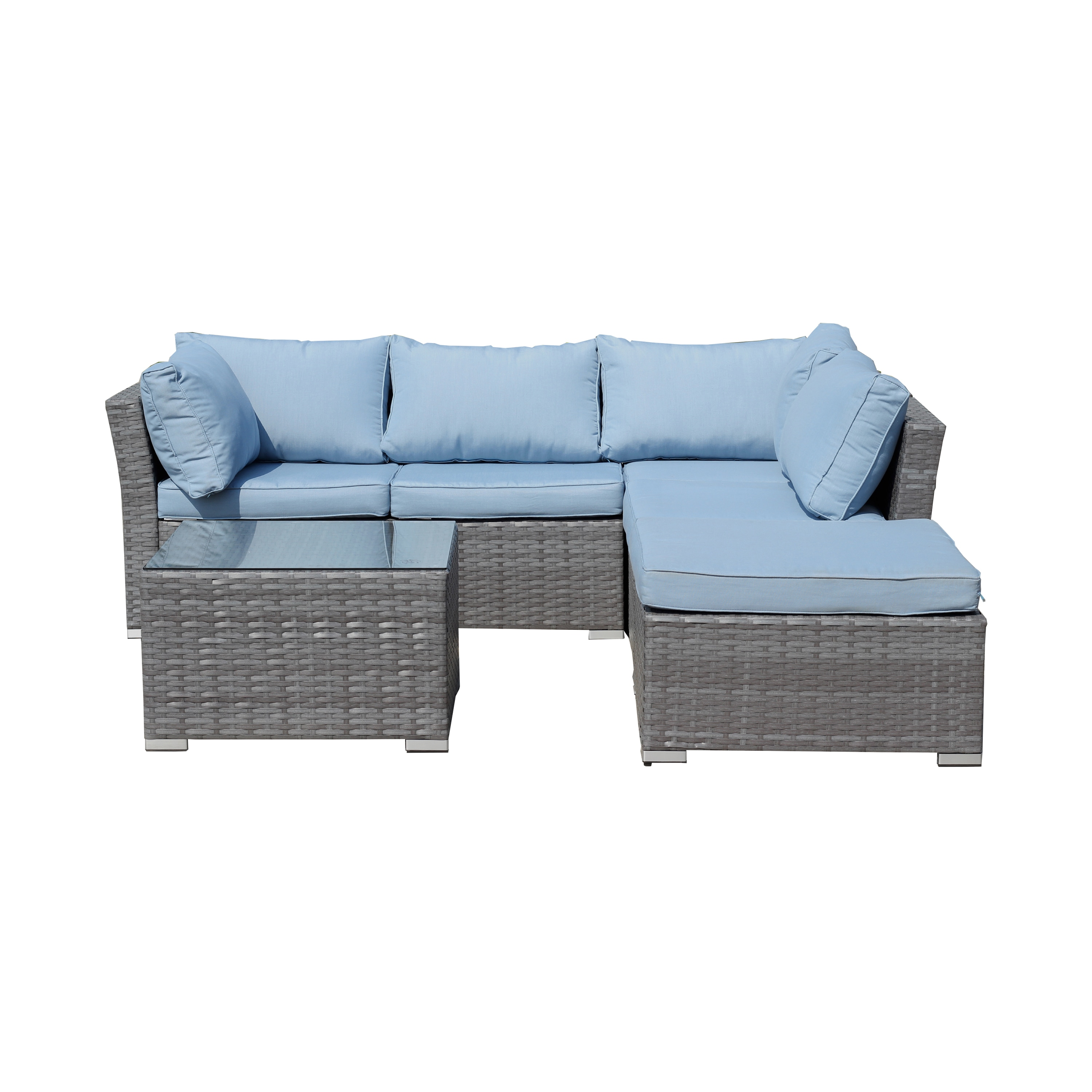 Jicaro 5 Piece Outdoor Wicker Sectional Sofa Set - Grey Wicker with Light  Blue Cushions
