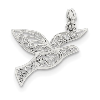 Sterling Silver Filigree Holy Spirit Charm with 18-inch Chain