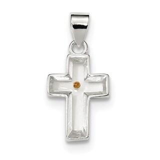 Sterling Silver Enameled w/Mustard Seed Cross Pendant w/18-inch Chain