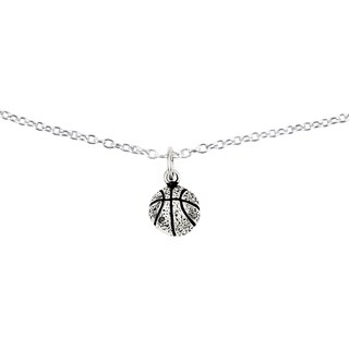 Sterling Silver Antiqued Basketball Charm with 18-inch Chain