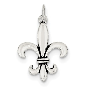Sterling Silver Antiqued Fleur-de-lis Charm with 18-inch Chain