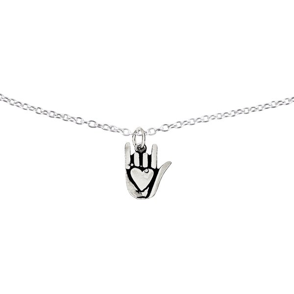 Sterling Silver Antiqued Sign Language Charm with 18-inch Cable Chain by Versil. Opens flyout.