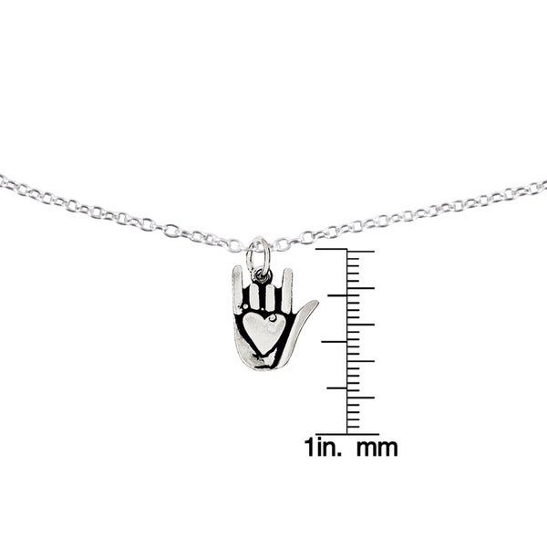 Sterling Silver Antiqued Sign Language Charm with 18-inch Cable Chain by Versil