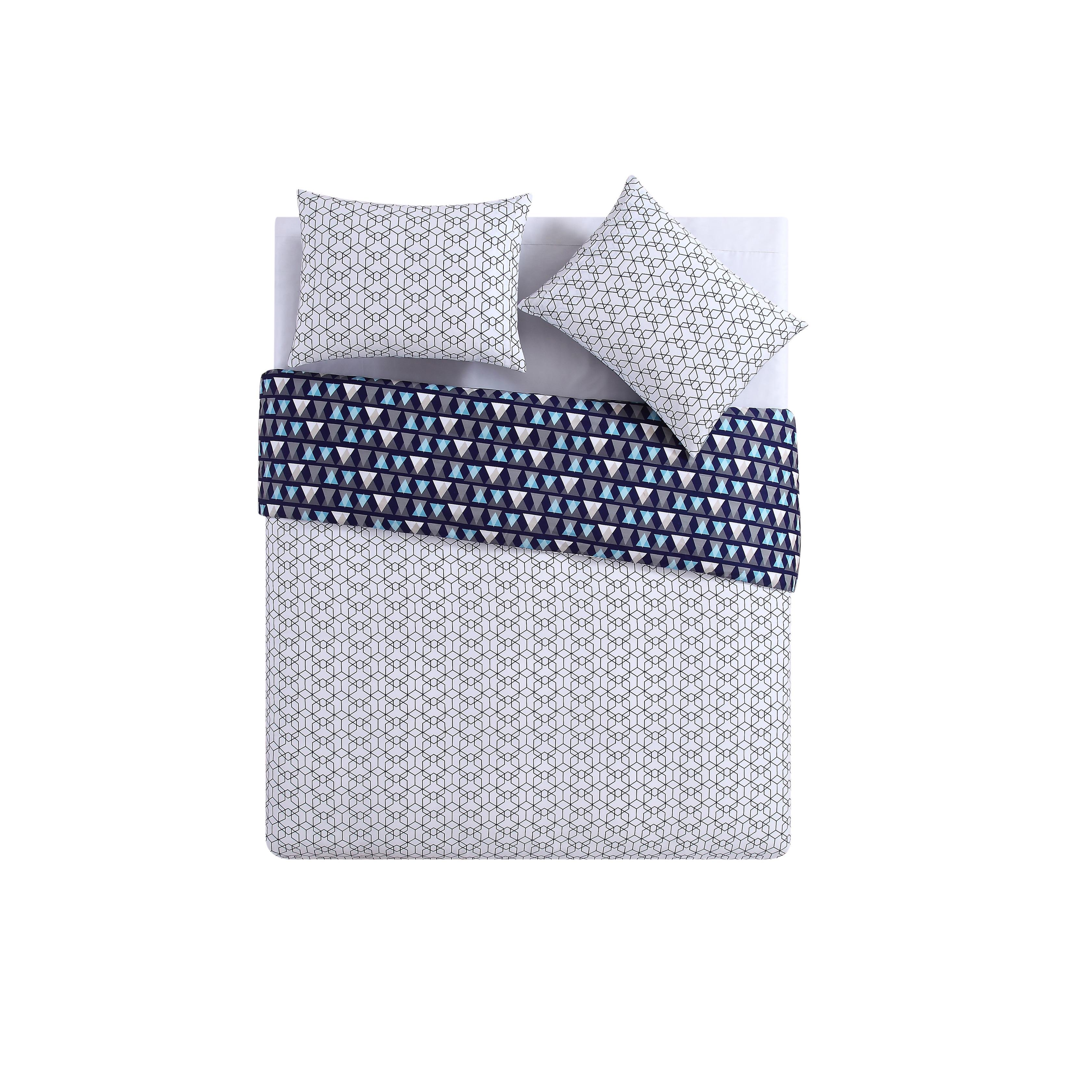 Clairebella Fractal Blue Reversible 100 Cotton 3-piece Duvet Set