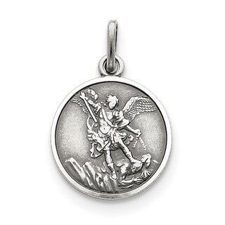 Sterling Silver Antiqued Saint Michael Medal with 18-inch Chain by Versil