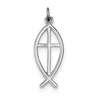 Sterling Silver Rhodium-plated Ichthus Fish Charm by Versil