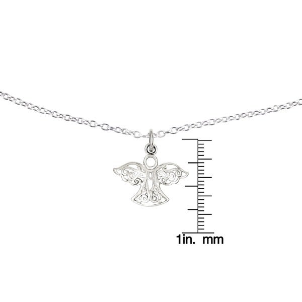 20mm x 20mm Solid 925 Sterling Silver Filigree Angel Pendant Charm
