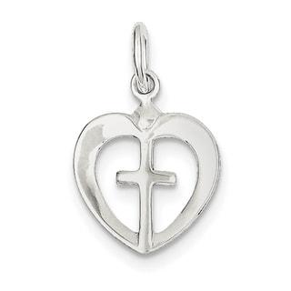 Sterling Silver Cross Heart Charm
