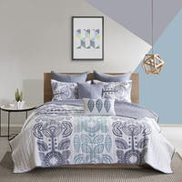 Urban Habitat Teo Blue 7-piece Cotton Printed Coverlet Set