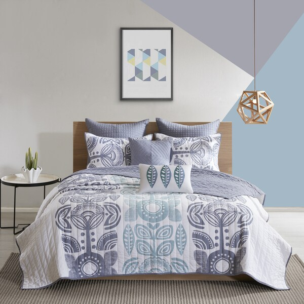 Urban Habitat Teo Blue 7-piece Cotton Printed Coverlet Set