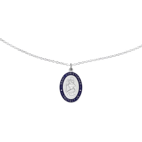 1f6e9dacc12 Versil Sterling Silver Enameled St. Christopher Medal with 18-inch Chain