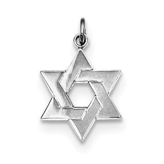 Versil Sterling Silver Rhodium-plated Star of David Charm with 18-inch Chain