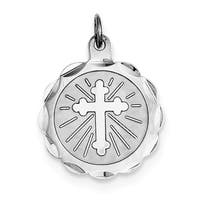 Sterling Silver Cross Disc Charm with 18-inch Chain