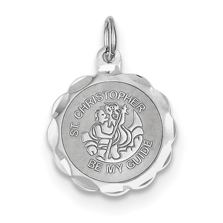 Versil Sterling Silver St. Christopher Medal Charm with 1...