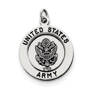 Sterling Silver Antiqued Saint Michael Army Medal With 18-Inch Chain