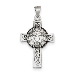 Sterling Silver US Navy Cross Pendant with 18-inch Chain