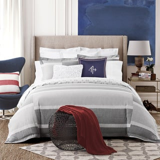 Tommy Hilfiger Woodford Grey and White Stripe Cotton 3-piece Duvet Cover Set