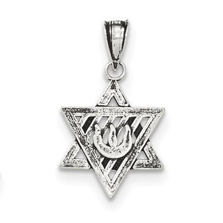 Sterling Silver Antiqued Star of David Pendant With 18-Inch Chain