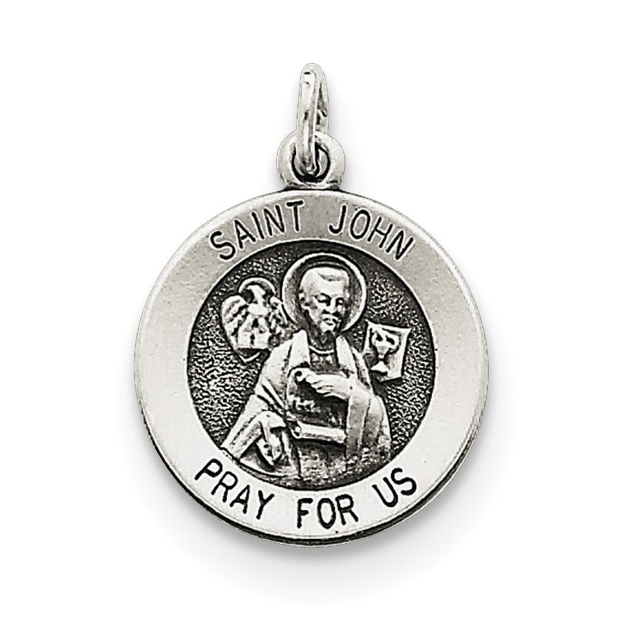 Versil Sterling Silver Antiqued Saint John Medal with 18-...