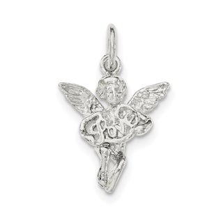 Sterling Silver Textured Angel Love Pendant with 18-inch Chain