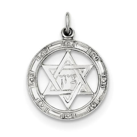 Versil Sterling Silver Star of David Disc Charm with 18-inch Chain
