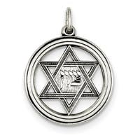 Sterling Silver Antiqued Star of David Disc Charm with 18-inch Chain