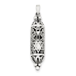 Sterling Silver Fancy Mezuzah Pendant