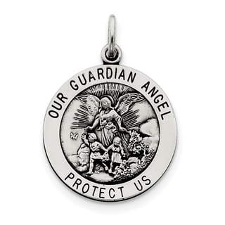 Sterling Silver Antiqued Guardian Angel Medal with 18-inch Chain