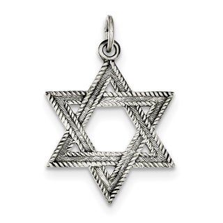 Sterling Silver Antiqued Star of David Charm with 18-inch Chain