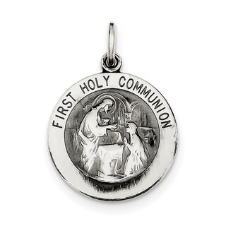 Sterling Silver Polished and Matte Finish Holy Communion Pendant with 18-inch Chain by Versil
