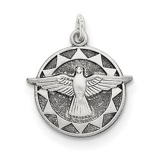 Sterling Silver Antiqued Holy Spirit Medal by Versil