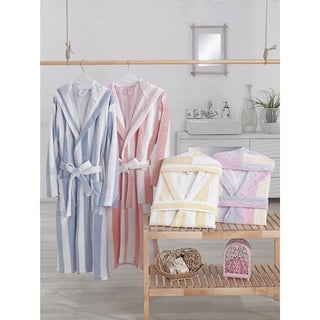 AZK Authentic Turkish Cotton Unisex Stripe Hooded Bathrobe