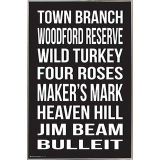 Bourbon Distilleries Silvertoned Metal Frame 24 x 36-inch Poster