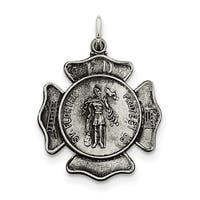 Sterling Silver Saint Florian Badge Medal with 18-inch chain by Versil