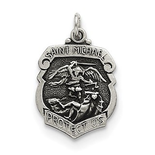 Sterling Silver St. Michael Badge Medal with 18-inch Chain