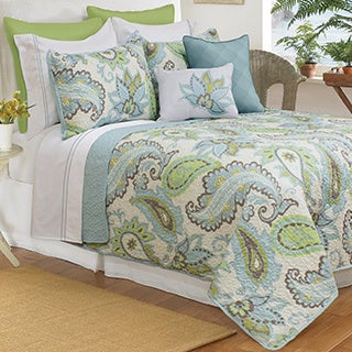 Katy Aqua Paisley Printed Quilt and Sham Set