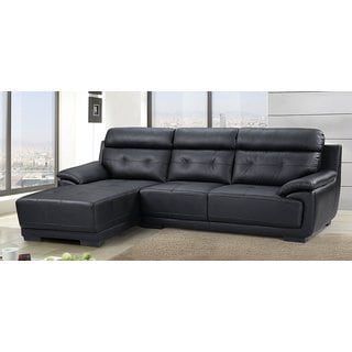 US Pride Furniture Hollywood Modern Tufted Leather Sectional, Left Side Facing