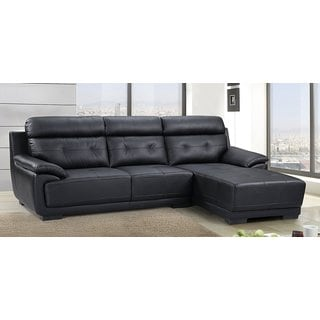 US Pride Furniture Hollywood Modern Tufted Leather Sectional, Right Side Facing