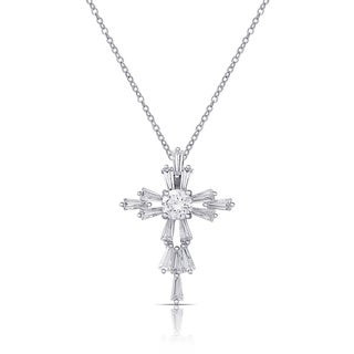Dolce Giavonna Silver Overlay Cubic Zirconia Cross Necklace
