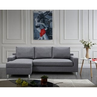 US Pride Furniture Hampton Left Side Facing Linen Sectional Sofa Bed