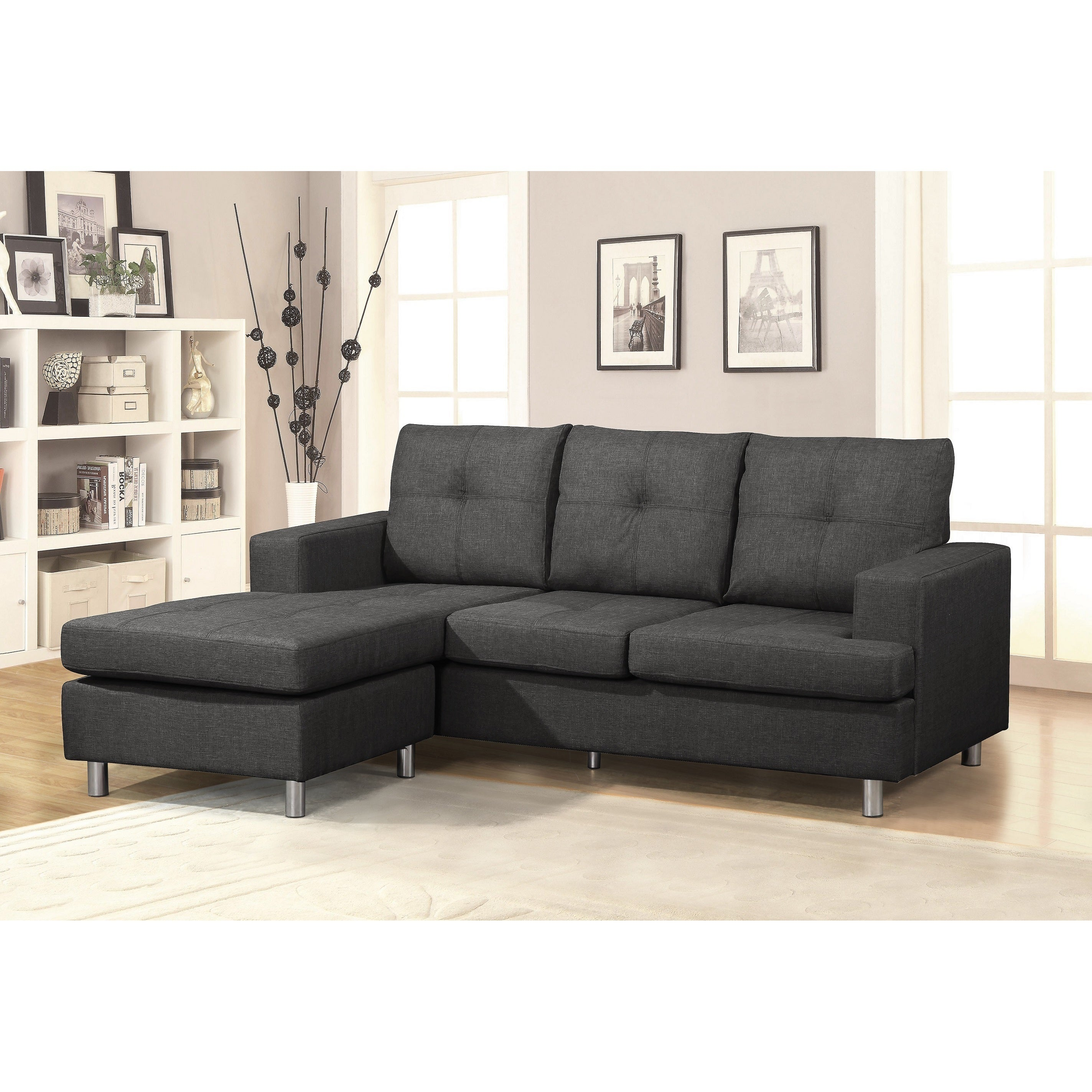 US Pride Furniture Modern Reversible Chaise Sectional Sofa