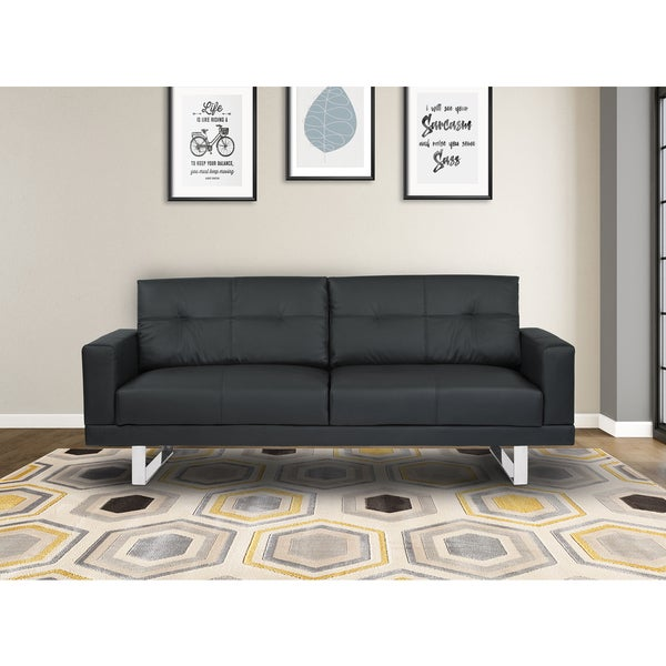 Shop Armen Living Lincoln Mid Century Black Tufted Faux Leather Sofa