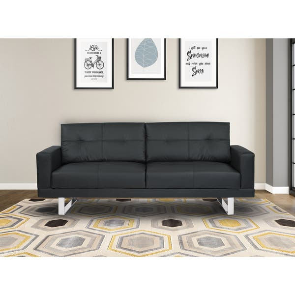 Shop Armen Living Lincoln Mid-century Black Tufted Faux ...