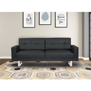 Armen Living Lincoln Mid-century Black Tufted Faux Leather Sofa with Chrome Legs