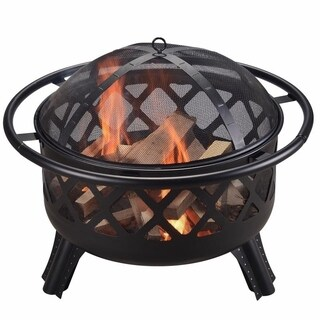 Peaktop Steel Wood 30-inch Round Outdoor Burning Fire Pit