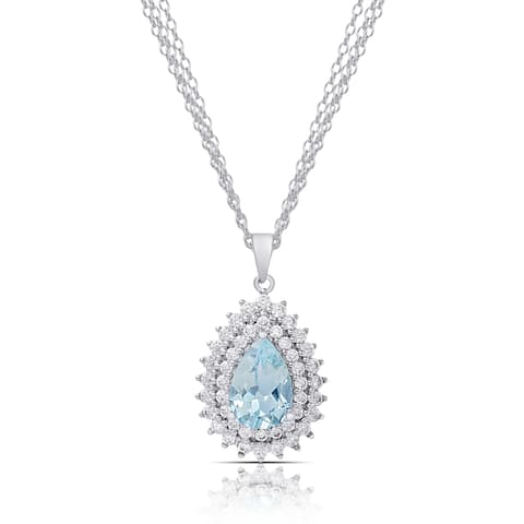 Dolce Giavonna Silver Overlay Blue Topaz and Cubic Zirconia Teardrop Necklace