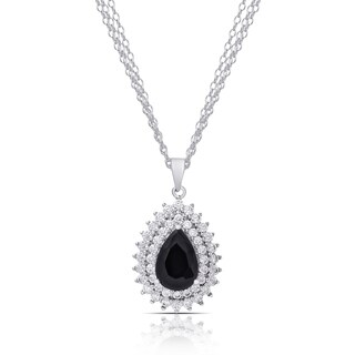 Dolce Giavonna Silver Overlay Sapphire and Cubic Zirconia Teardrop Necklace