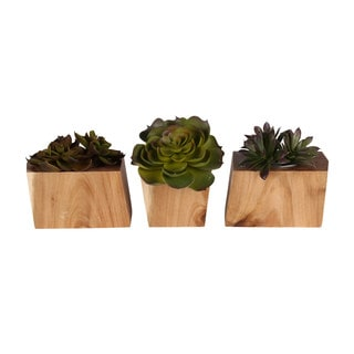 Kate and Laurel Jakara Natural Wood Block 3-piece Planter Set