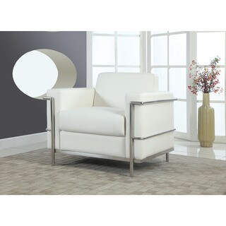Best Master Furniture Helix Modern Faux Leather with Chrome Arm Chair