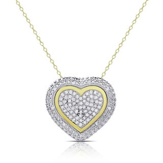 Finesque Gold over Sterling Silver 1/2ct TDW Diamond Heart Necklace